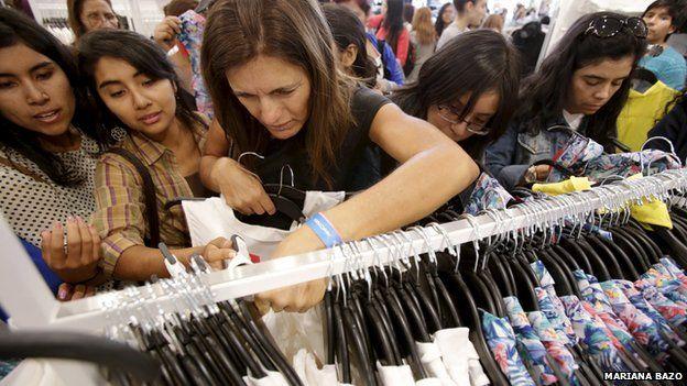Shoppers in Lima, Peru