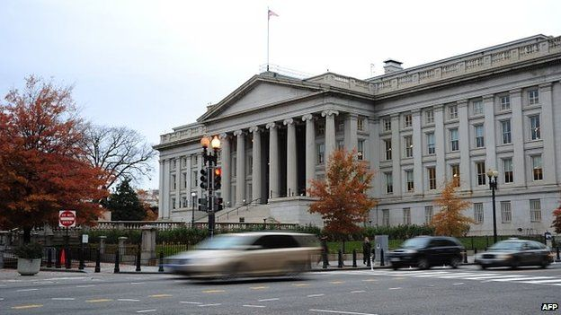 File photo showing the US Treasury Building in Washington, DC