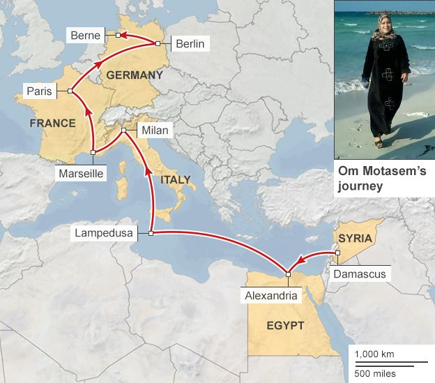 Map showing the journey of Om Motasem and her family