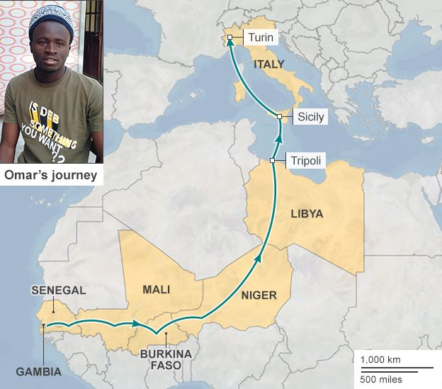 Map showing the journey of Omar Gassama