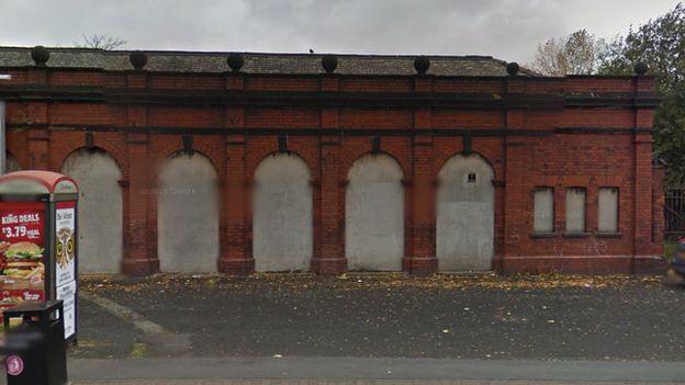 Bricked up turnstiles to Manchester Racecourse