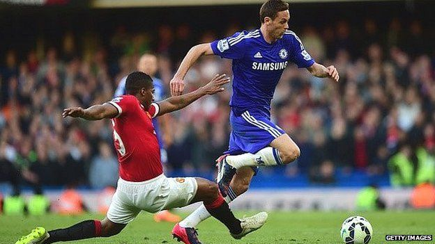Luis Antonio Valencia of Manchester United tackles Nemanja Matic of Chelsea