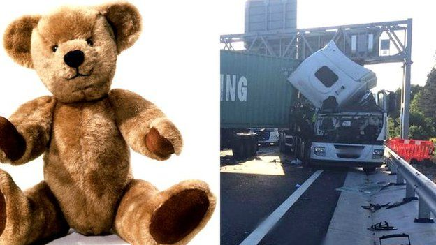 Generic teddy bear and lorry crash on A14