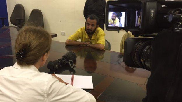 Haider Mansour (right) speaks to Orla Guerin
