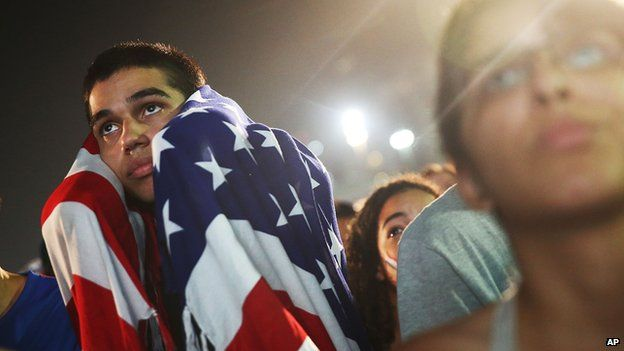 US 'soccer' fans cheer for their side at the World Cup