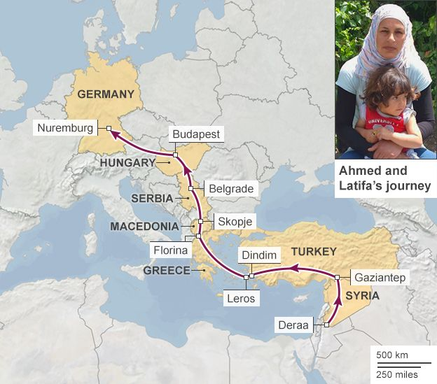 Map showing the journey of Ahmed, Latifa and their three young sons