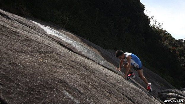 A competitor in a race on Mount Kinabulu