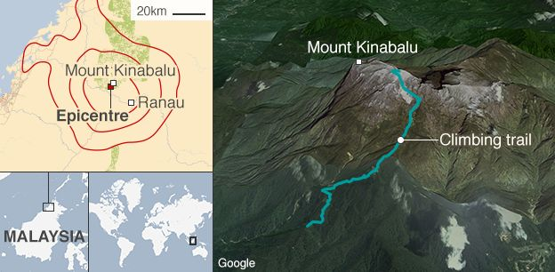 A map showing the earthquake that has struck Mount Kinabulu in Malaysia