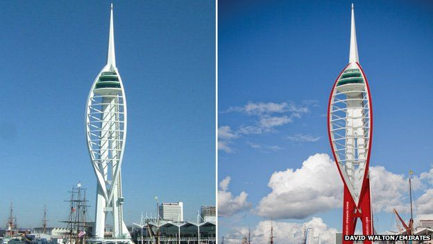 The Spinnaker Tower before and after