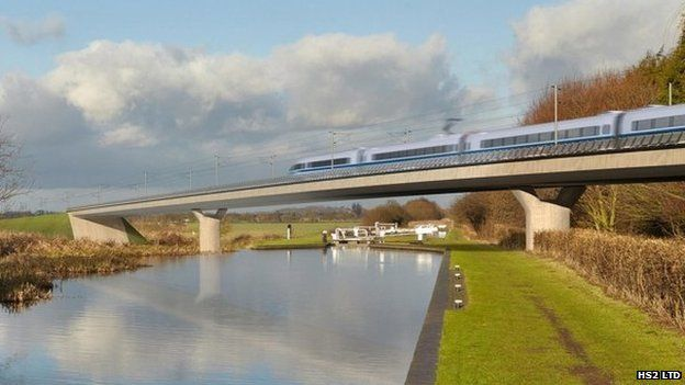 Artist's impression of what the HS2 line will look like