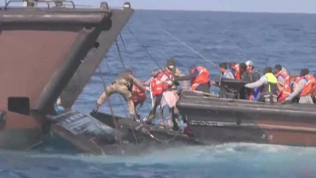 Migrants rescued from boat