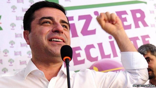 "Selahattin Demirtas, co-chair of the pro-Kurdish Peoples"" Democratic Party (HDP), gestures during a press conference in Istanbul on June 7, 2015."