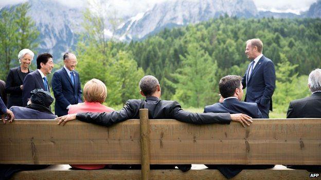 G7 leaders at the hotel castle Elmau in Kruen, southern Germany - 8 June 2015