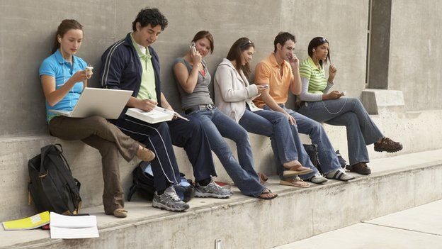 Young people texting