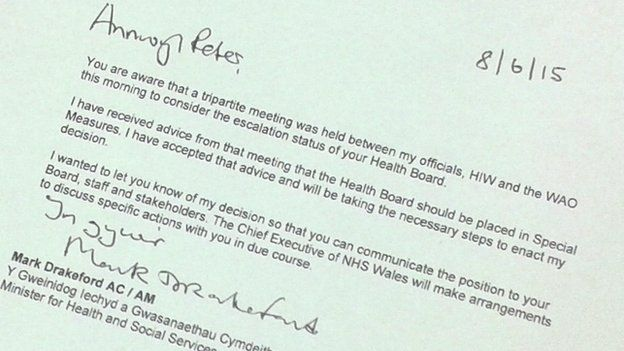 Letter from Mark Drakeford to Betsi Cadwaladr health board