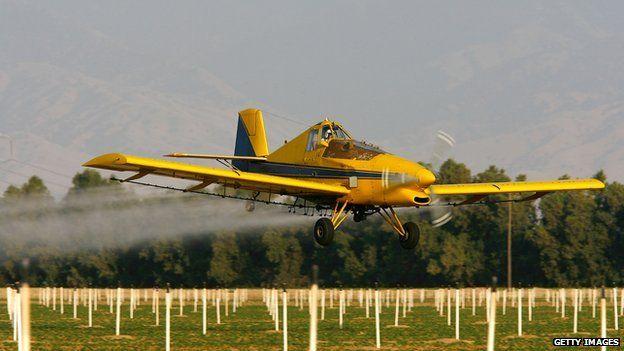Crop-spraying near Arvin, California - file pic