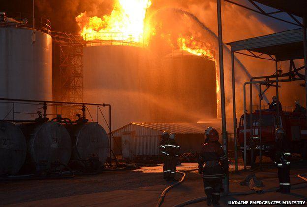 Ukraine emergencies ministry photo of blaze at petrol depot in Vasylkiv outside Kiev