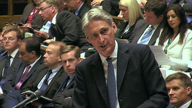 Philip Hammond address MPs in Parliament
