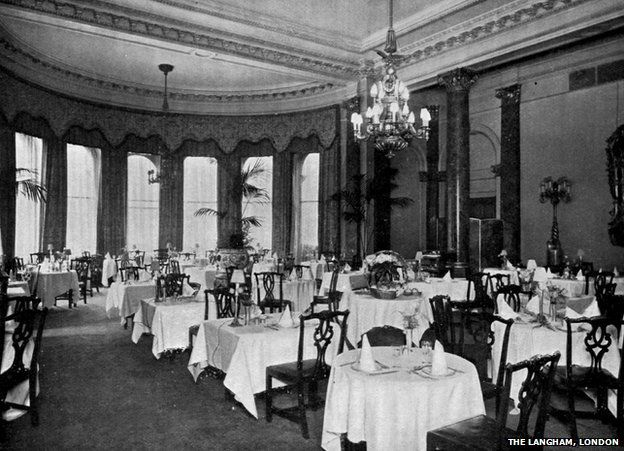 The Langham dining room pictured in 1880