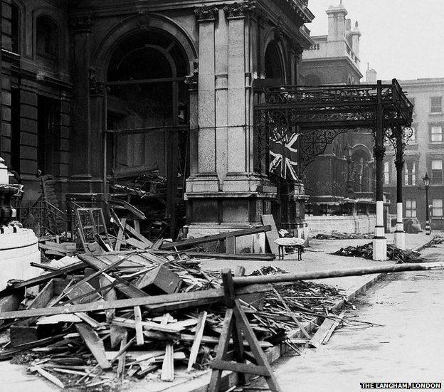 The Langham, London during the Blitz