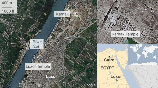 Map showing location of Karnak temple in Luxor, Egypt