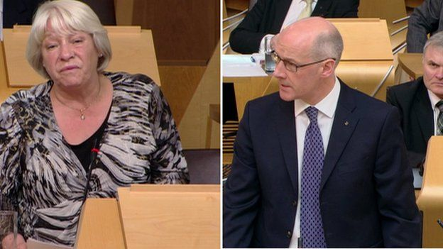Sandra White and John Swinney at First Ministers Questions