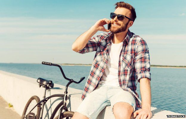 Bicyclist with phone