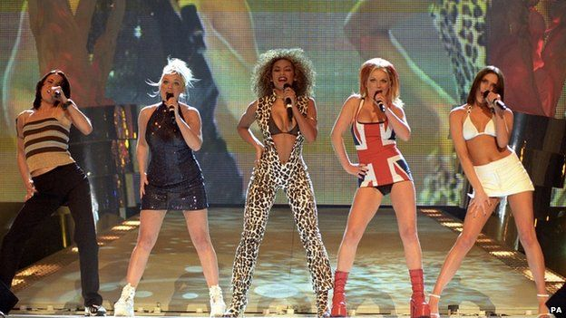 The Spice Girls perform in 1997 at the Brit Awards