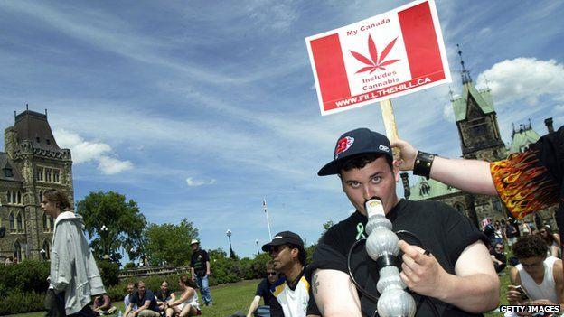 A protestor in Canada