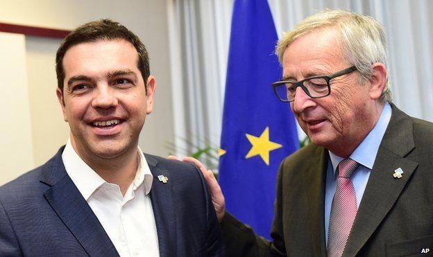 Greek PM Alexis Tsipras with Jean-Claude Juncker (11 Jun)