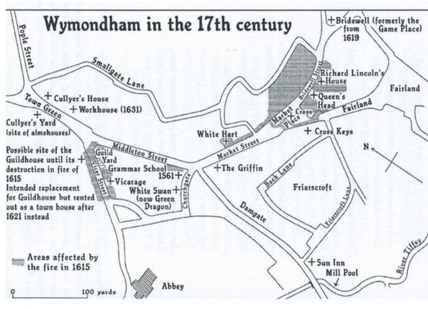 Middleton Fire Map.Wymondham Great Fire Remembered 400 Years On Bbc News
