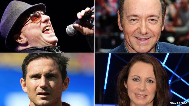 (Clockwise from top left) Van Morrison, Kevin Spacey, Jo Pavey, Frank Lampard