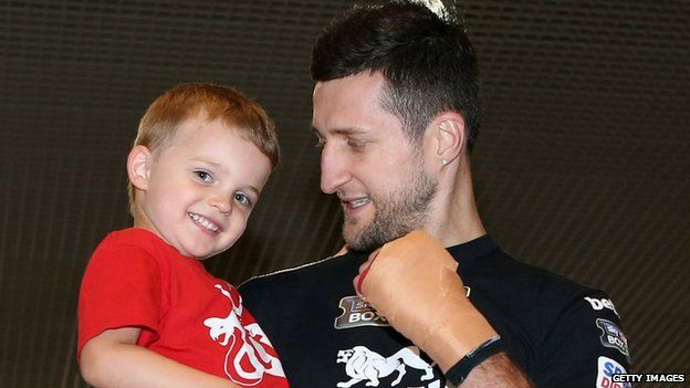 Carl Froch poses with son Rocco