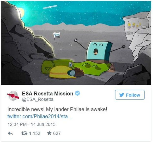 Tweet from ESA Rosetta Mission