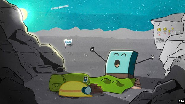 An image provided by the Esa shows an artist's impression of the Philae lander awakening from hibernation