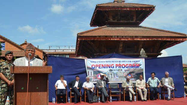 Officials at a ceremony to re-open monuments in Bhaktapur