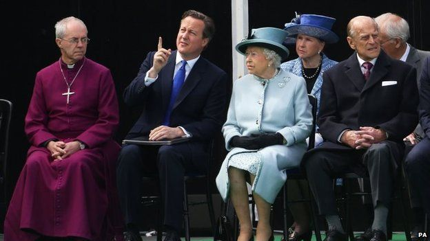 Justin Welby, David Cameron, the Queen and the Duke of Edinburgh at anniversary event