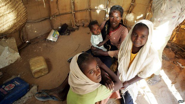 Sudanese family in camp for displaced people in Nyala, Darfur