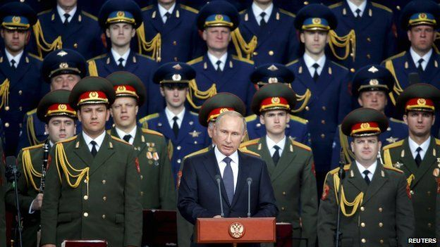 Russian President Vladimir Putin delivers a speech at the opening of the Army-2015 international military forum in Kubinka, outside Moscow, on 16 June 2015