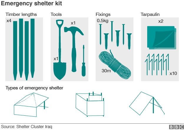 Graphic showing the contents of an emergency shelter kit