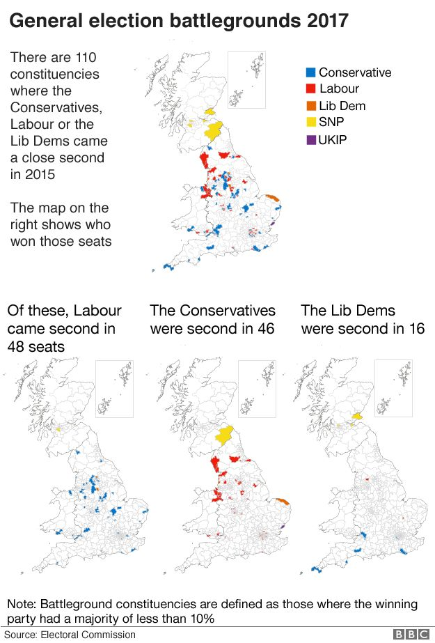 Maps of the most marginal seats in the Great Britain