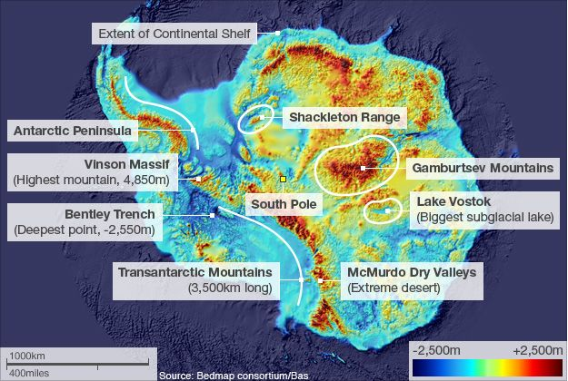 Antarctica showing height of mountains