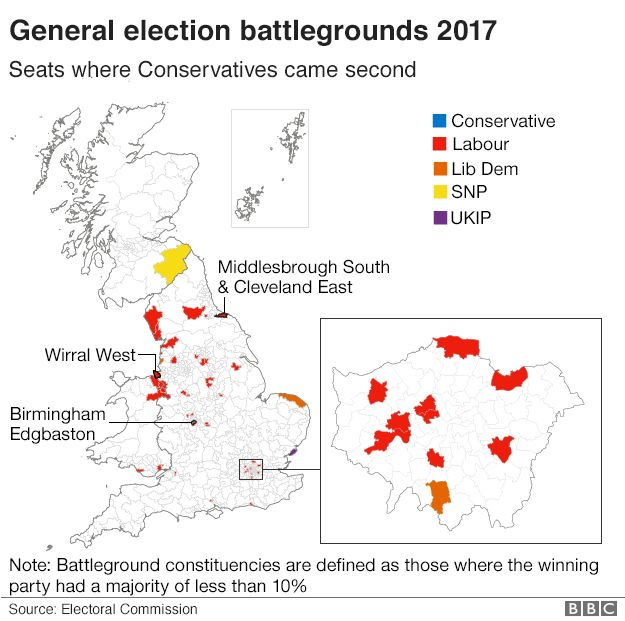 Map showing the 47 seats where the Conservatives came second in the 2015 general election