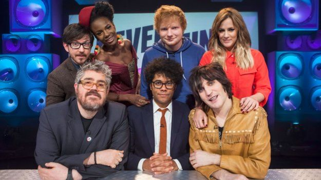 Richard Ayoade as a guest presenter on Never Mind the Buzzcocks