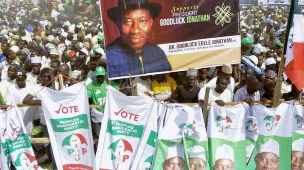 Supporters of Nigeria's People's Democratic Party gather during a presidential campaign rally in Kano, Nigeria - Wednesday 21 January 2015