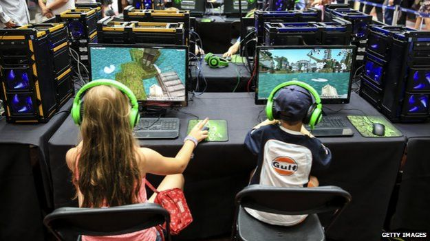 Children playing Minecraft