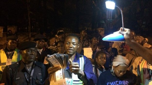 Counting votes by torchlight in Abuja