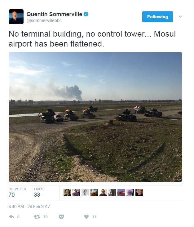 The BBC's Quentin Sommerville tweets a picture of the flattened airport, with no control tower