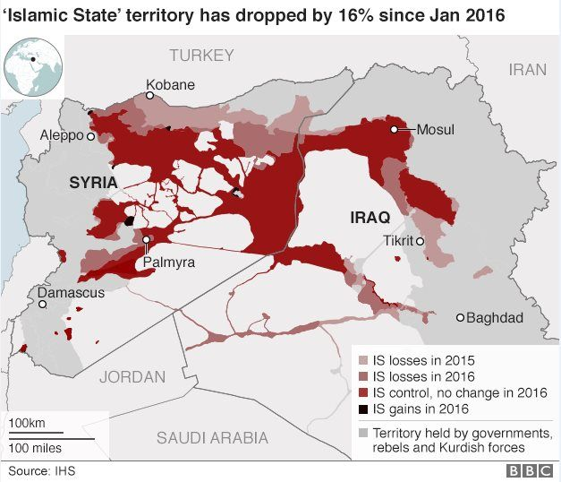 A map showing Islamic State territory losses in 2015 and 2016
