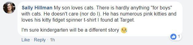 """Facebook screen grab from Sally Hillman, reading: """"My son loves cats. There is hardly anything """"for boys"""" with cats. He doesn't care (nor do I). He has numerous pink kitties and loves his kitty fidget spinner t-shirt I found at Target."""""""